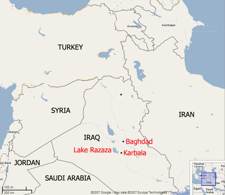 A map of Iraq highlighting Lake Razaza near Karbala city
