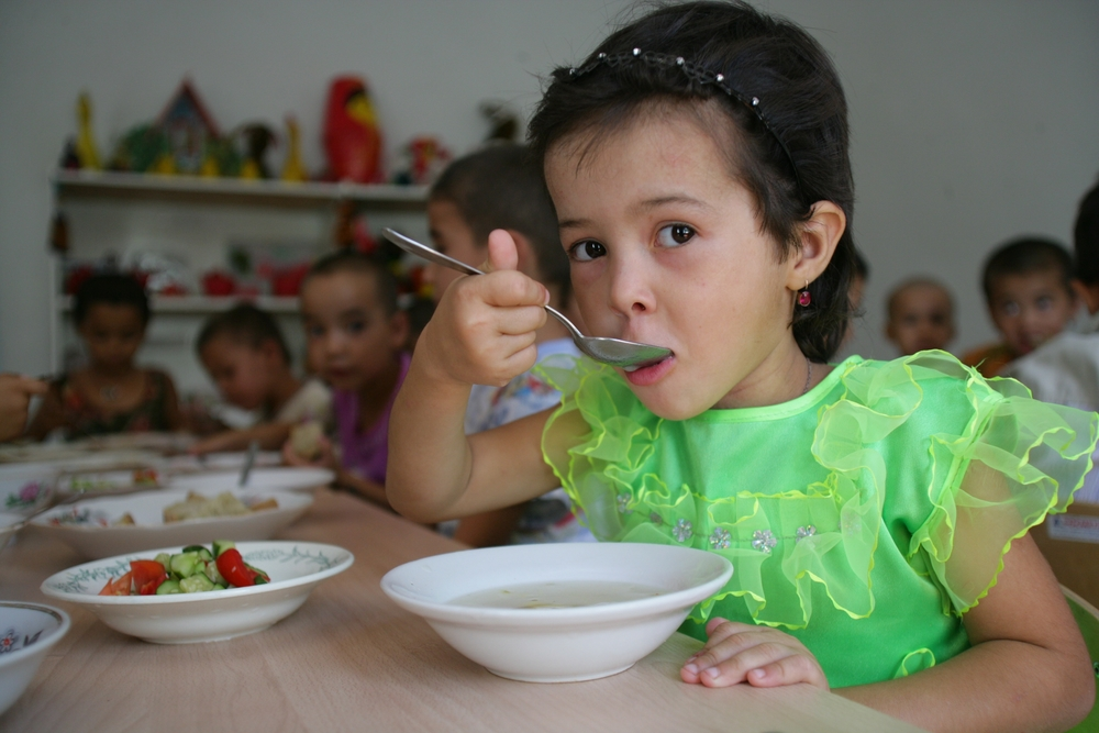 Children having fortified food in a kindergarten in northern Turkmenistan.