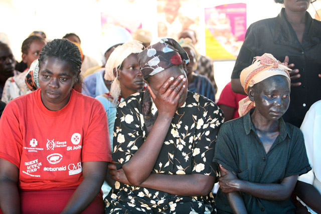 Members of an HIV-support group at the Nakuru Showground IDP camp April 2008. Thousands of people were displaced during post election violence in Kenya.