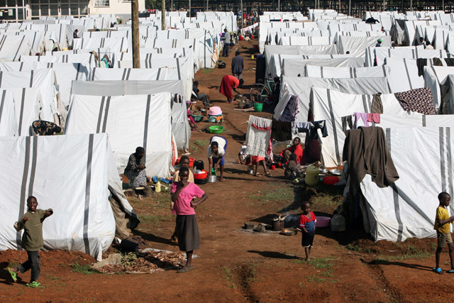 A view of the Eldoret IDP camp, April 2008. The camp hosts over 14,000 people displaced during the post election violence in Kenya.