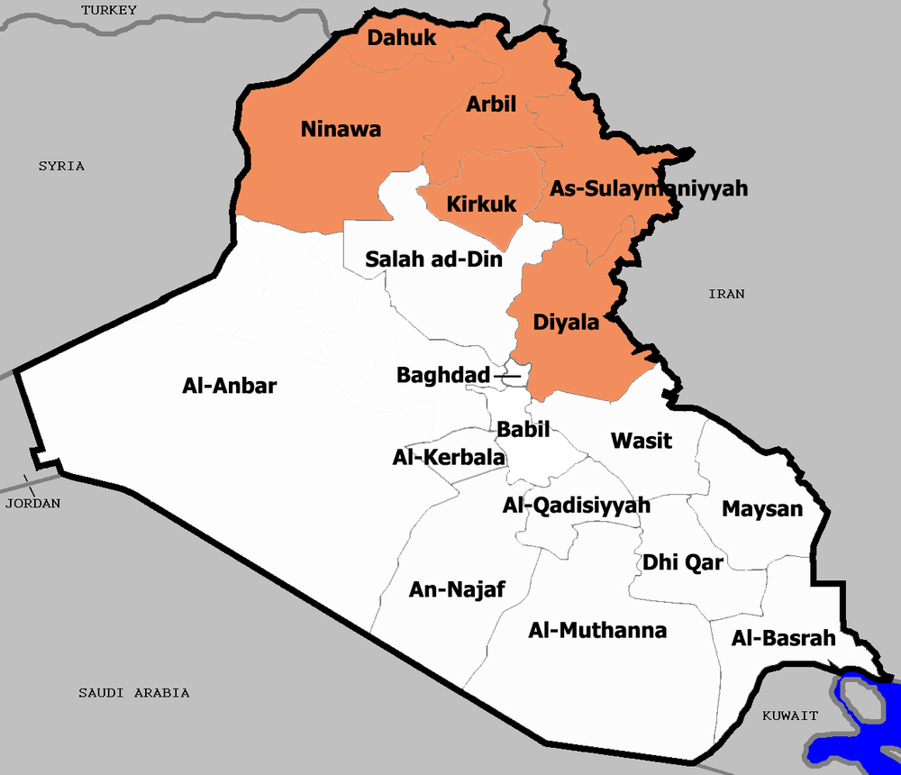 A map of Iraq highlighting the six provinces that make up Iraqi Kurdistan, though only three are wholly under the Kurdistan Regional Government.