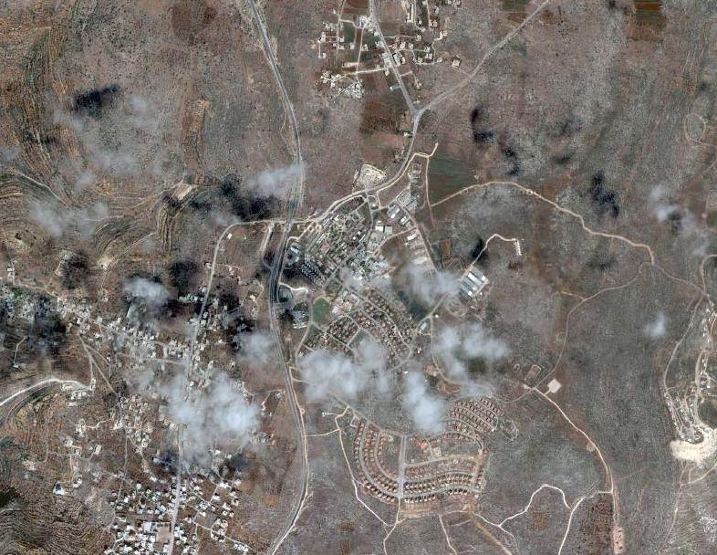 A satellite image of Ofra, one of the first and largest settlements in the West Bank.