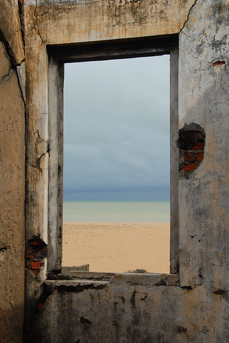 View from an abandoned Portuguese house on the beach of Grand Popo, Benin.