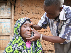 A person checked for trachoma.