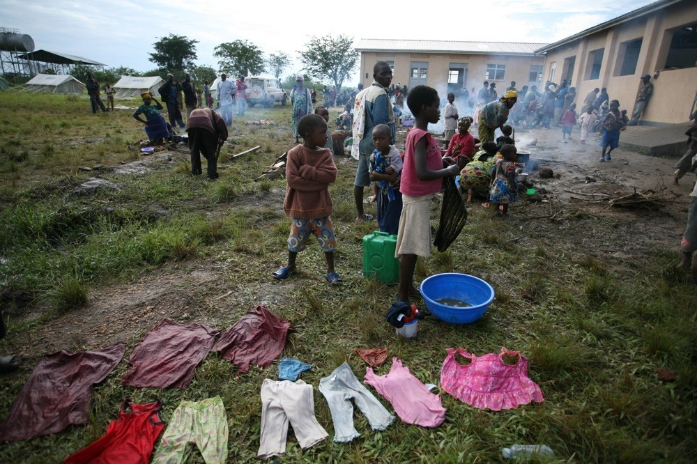 A temporary refugee camp in Ishasha town in western Uganda. Thousands of refuges have fled violence in eastern DRC; an estimated 7,000 have crossed into Uganda