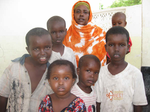 Shukri Mohamed with her children in an IDP camp in north Mogadishu