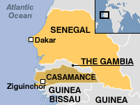 map - Senegal (Casamance) and Guinea-Bissau