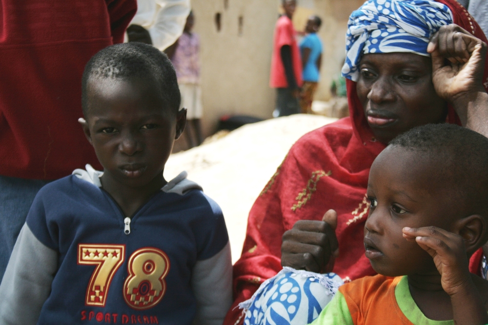 A woman and her children among hundreds who on 4 September 2009 fled the neighbourhood of Diabir just outside Casamance's main city of Ziguinchor, after clashes between the army and separatist rebels