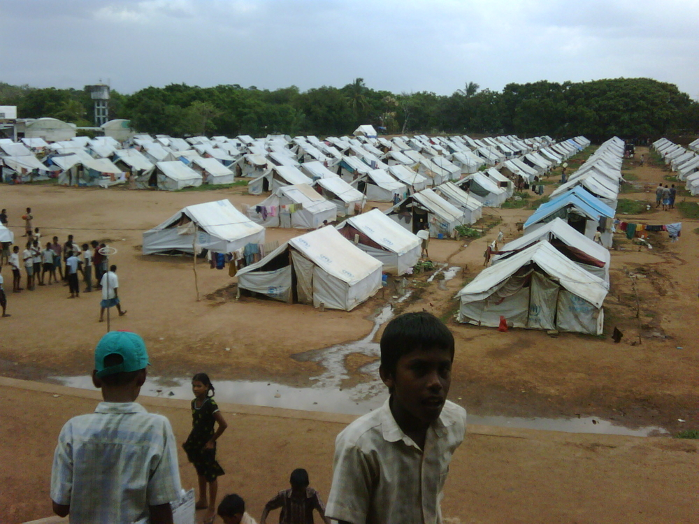 A displaced persons camp in Vavuniya, Sri Lanka. Thousands of Tamil civilians continue to languish inside camps such as this more than five months after the Sri Lankan government officially declared the war over