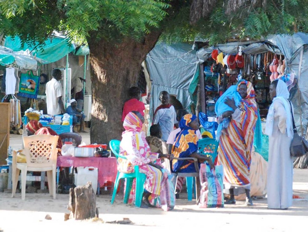 Sudanese women in the market place of Kauda, in Nuba Mountains of South Kordofan state, central Sudan