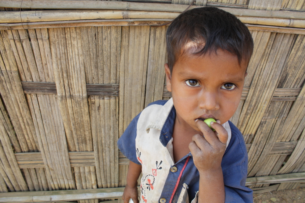 A young boy at the Kutupalong refugee camp south of Cox's Bazar, southern Bangladesh. Some 11,000 documented Rohingya refugees live in the camp