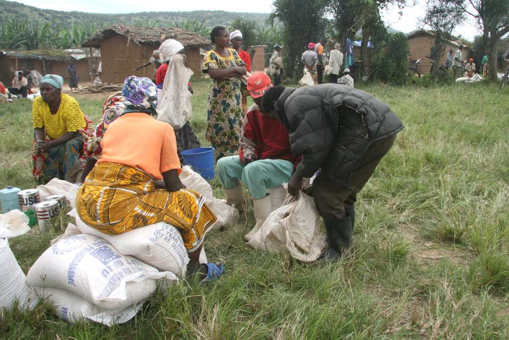 Food distribution in a village in the Nakivale refugee settlement