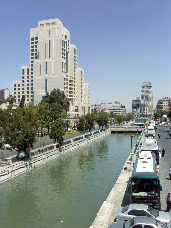 The Barada river, shown here in Damascus, is the only notable river flowing entirely within Syrian territory. The city's water supplies are under huge strain