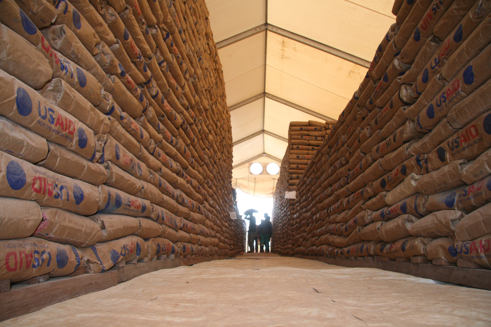 A WFP food distribution depot in Dungu, in Haut Uele district, DRC