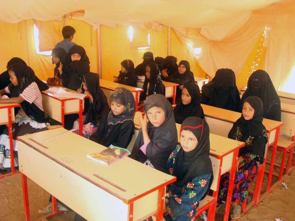 IDP girls attending class in the camp's school
