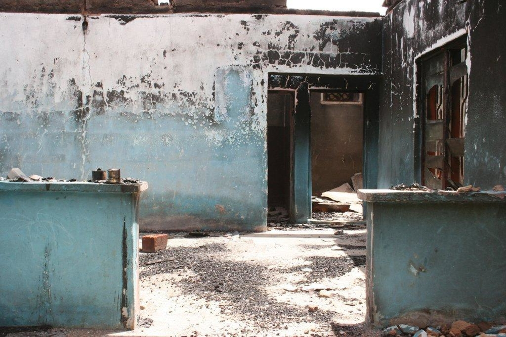 Home destroyed in religious violence, Jos
