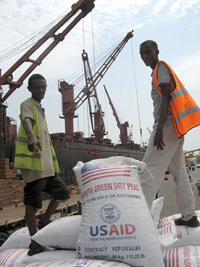 Food aid destined for distribution in Ethiopia