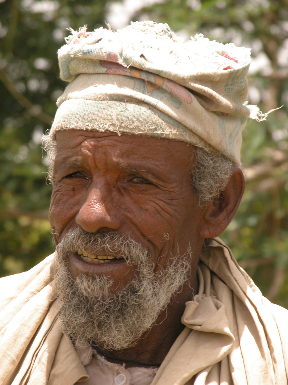 Melkae Brhanat Tesfay Gebremariam, a farmer in Tigray who lost two of his children in the famine in 1984