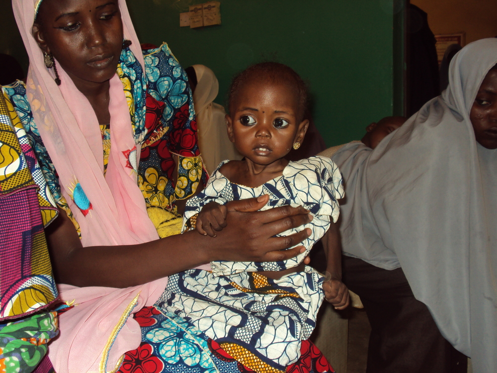 Mother and her severely malnourished child at a UNICEF feeding centre in Gombe state, northern Nigeria