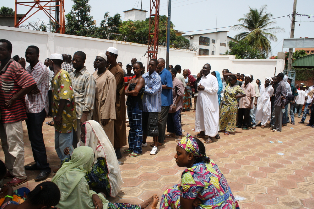 People in line to vote in Guinea's presidential election. Hamdallaye neighbourhood of the capital Conakry. June 2010