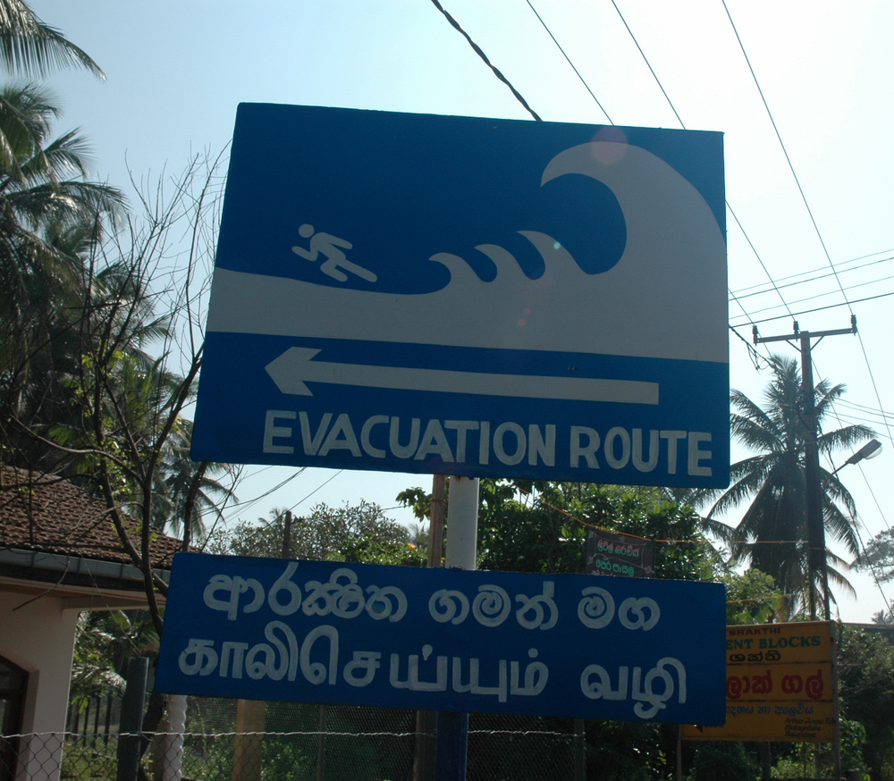 Along Sri Lanka's coast, sign boards like this direct residents to safer ground in the event of a tsunami