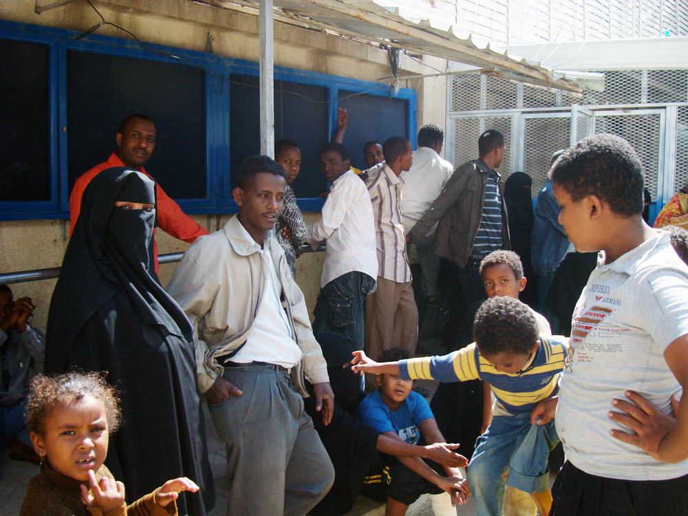 Somalis gather at the UNHCR centre in Sanaa. They complain that extremist groups in Somalia are creating problems for them in Yemen too