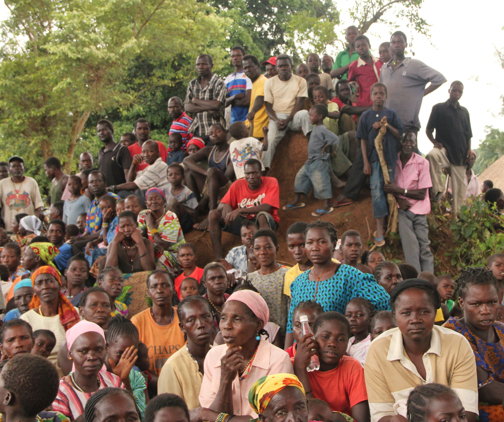 Displaced civilians in near the town of Nzara in Southern Sudan's Western Equatoria State, where thousands of people have fled their homes in fear of the Lord's Resistance Army