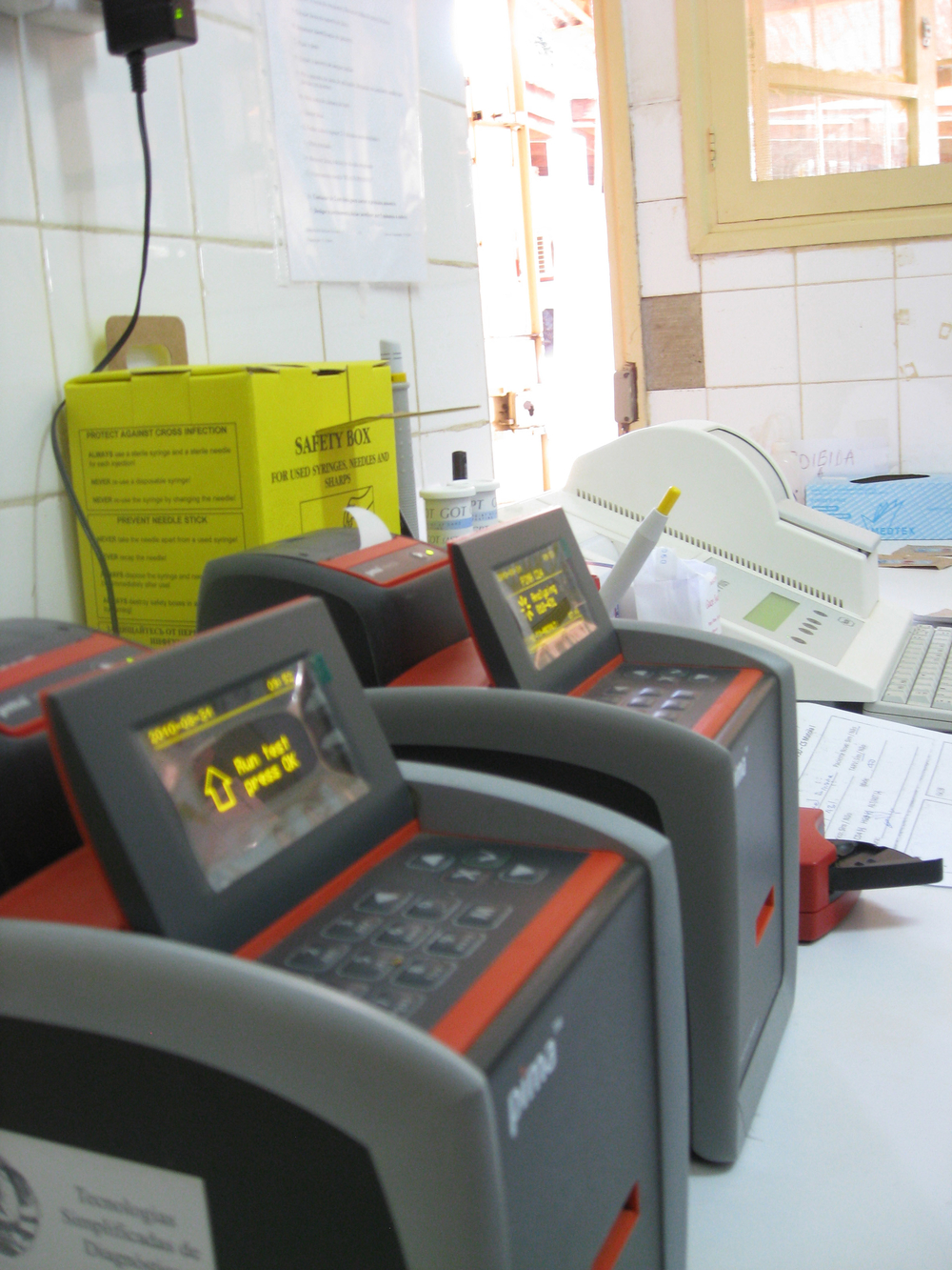 Point-of-care CD4 count machines in a clinic outside the Mozambican capital, Maputo