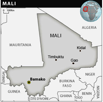 Map of Mali showing Timbuktu, Kidal and Gao towns