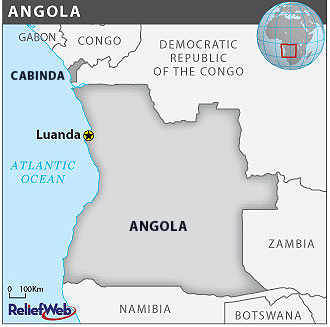 Map of Angola and Cabinda