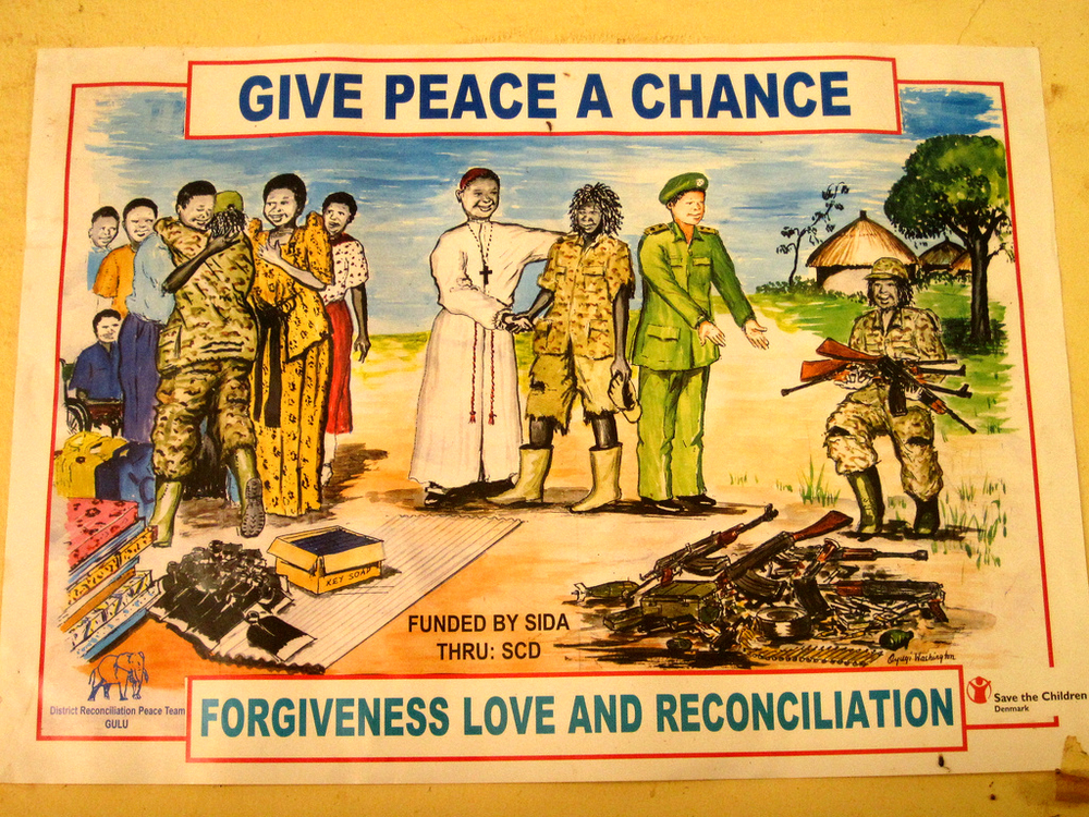 Peace Propaganda poster depicting the surrender of Rebel troops and their admittance back into Uganda Civil Society