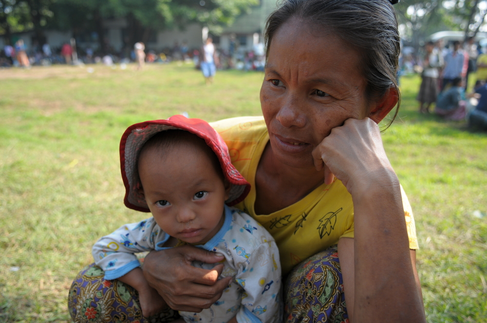 A Burmese woman with her child at a temporary refugee centre in the Thai border town of Mae Sot following fighting in early November 2010
