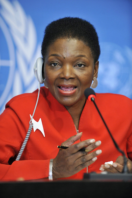 Valerie Amos, Under-Secretary-General for Humanitarian Affairs and Emergency Relief Coordinator, holds a press conference at the UN Office at Geneva, Switzerland