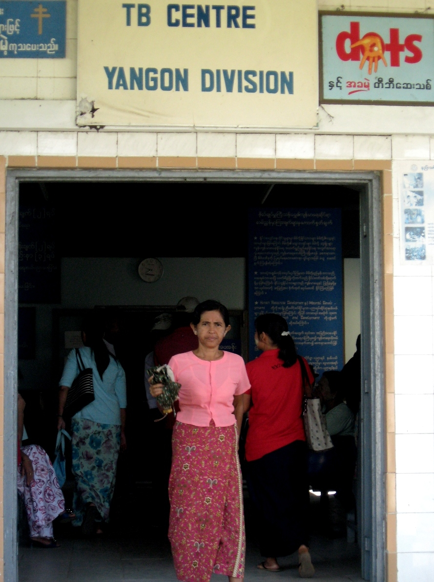 Outside a TB centre in Yangon. Access to health services remains a challenge for tuberculosis (TB) patients in rural Myanmar