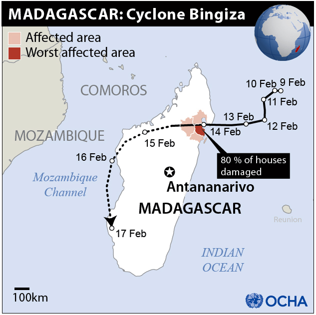 Torrential rainfall caused by Cyclone Bingiza on the northeast coast of Madagascar damaged houses, public