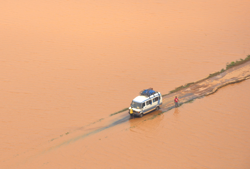 Flood waters in Madagascar after Cyclone Bingiza struck the Indian Ocean island of Madagascar on 14 February 2011