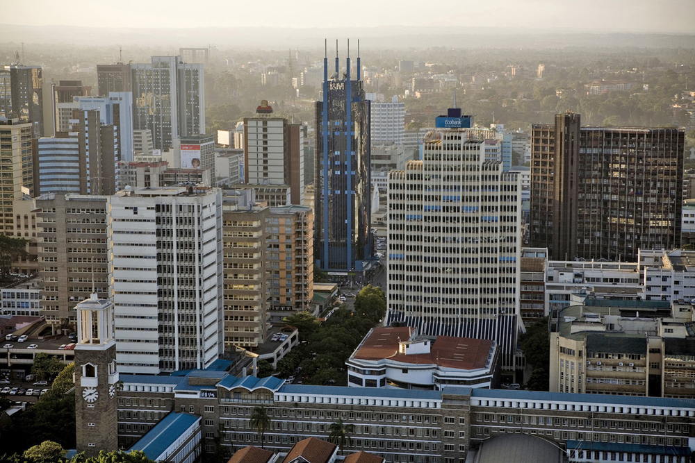 An aerial view shows the Nairobi city center in Kenya. The United Nations has recently said that climate change bringing floods and drought, growing biofuel demand and national policies to protect domestic markets could drive up global food prices and thr