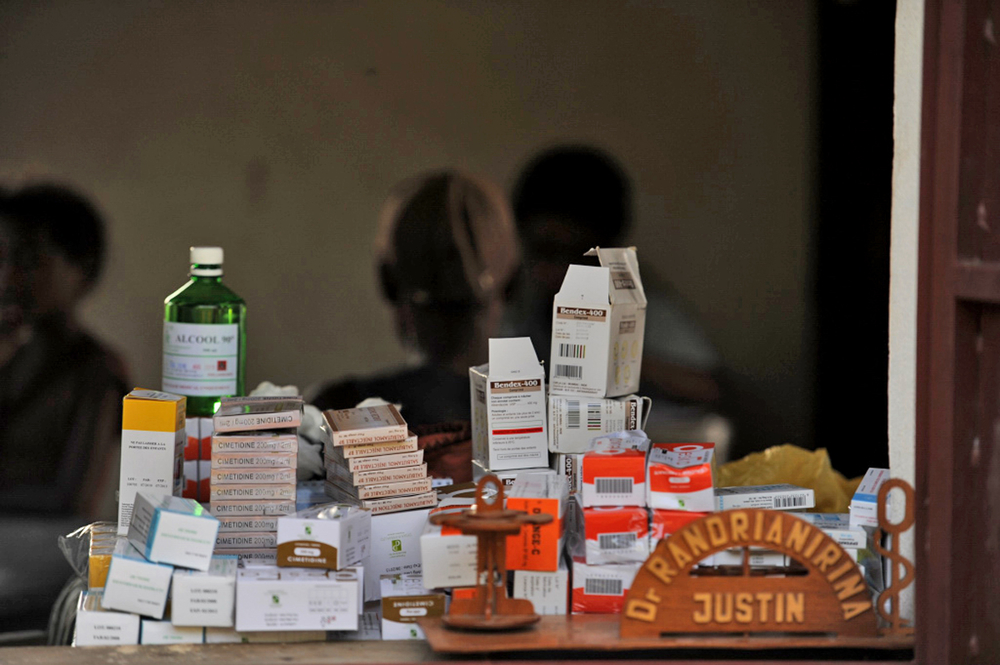 Medicines at a health centre in Ankavandra, about 230km west of the Madagascan capital Antananarivo