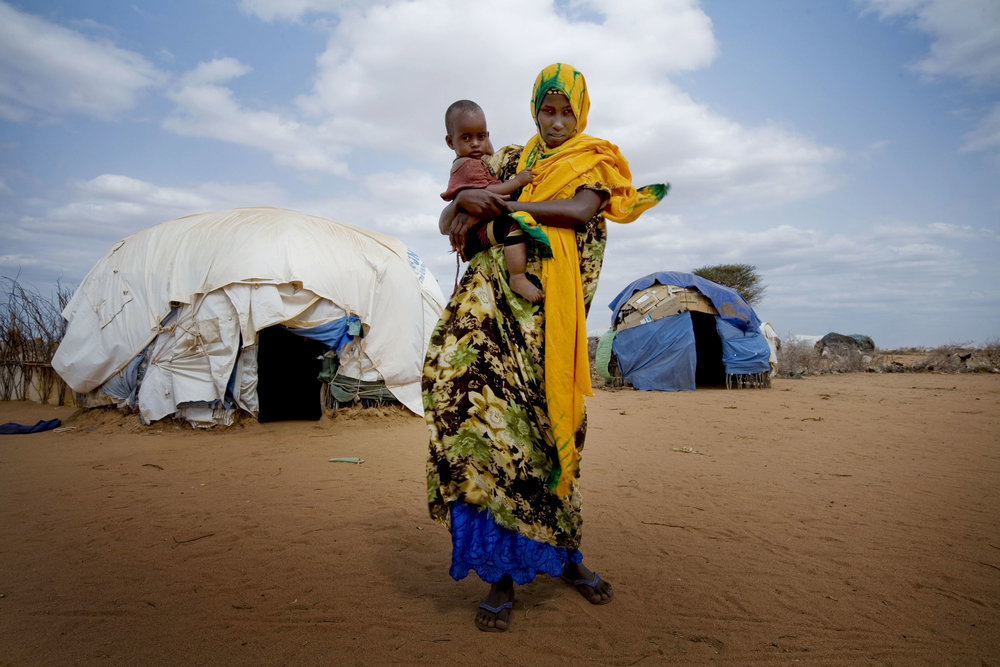 Newly arrived refugees from Somalia at Dagehaley camp, one of three that make up the Dadaab refugee camp, eastern Kenya