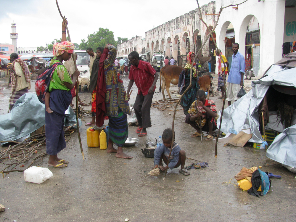 Displaced people on the streets of Mogadishu, Somalia