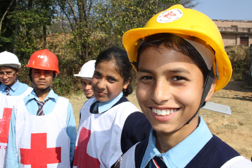 Sabin Dulal, 15, a student at the Panchakanya Secondary School in Nepal's Bhaktapur District, has recently learned triage as part his earthquake preparedness training through the Nepal Red Cross