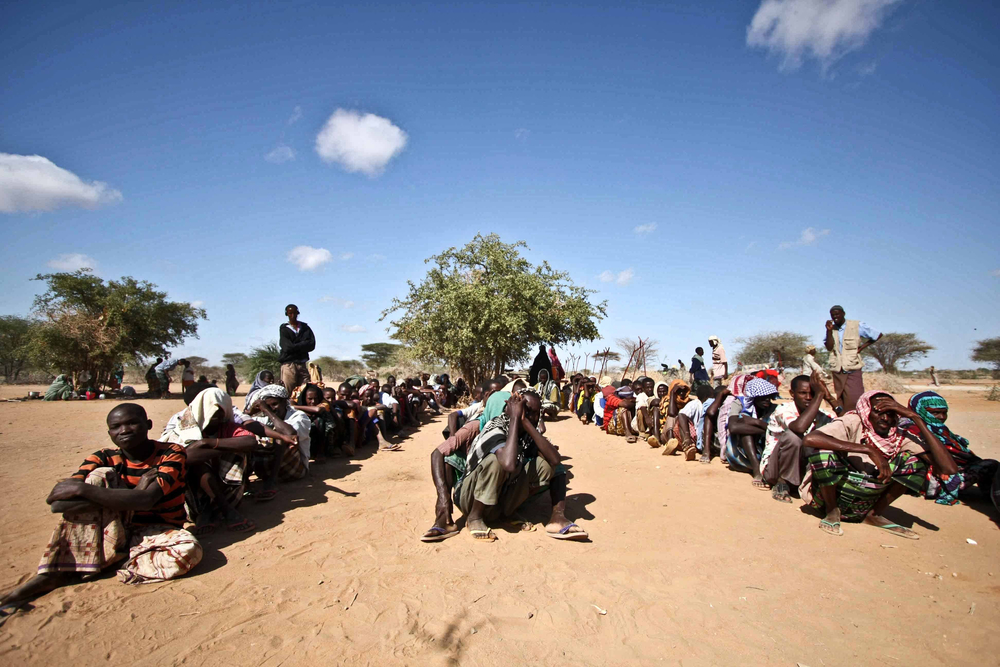 Refugees wait to be registered at Dagahaley camp, Dadaab, eastern Kenya