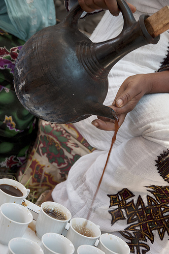 A traditional coffee ceremony in Ethiopia