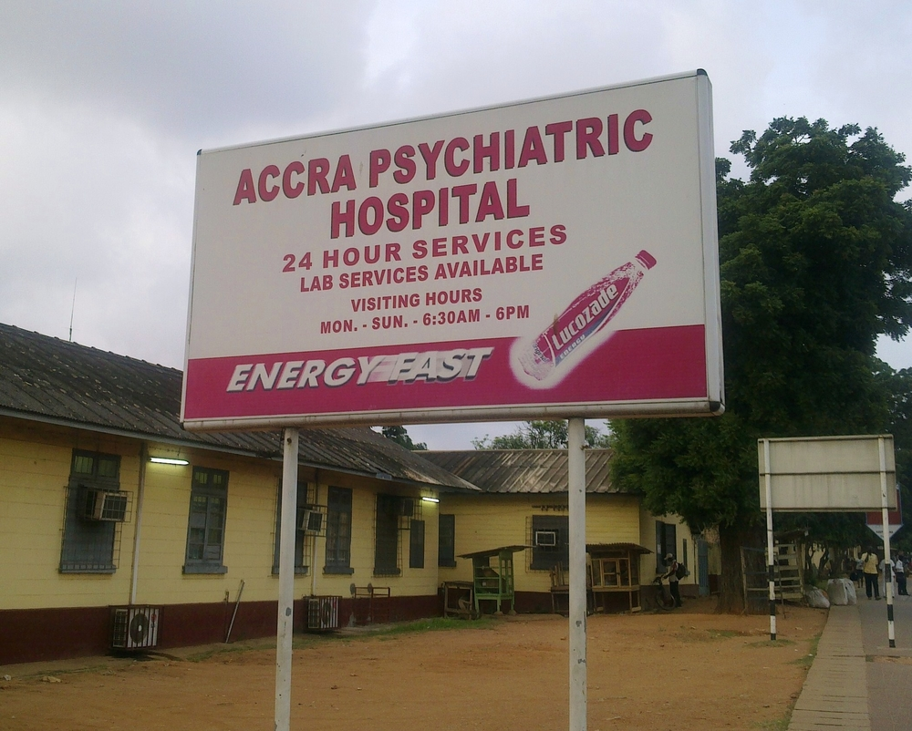 Sign at the Accra Psychiatric Hospital -- one of only three hospitals providing mental health services in the country of some 24 million people