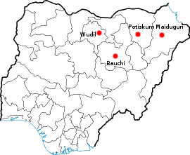 Map of cities where Boko haram has carried out attacks