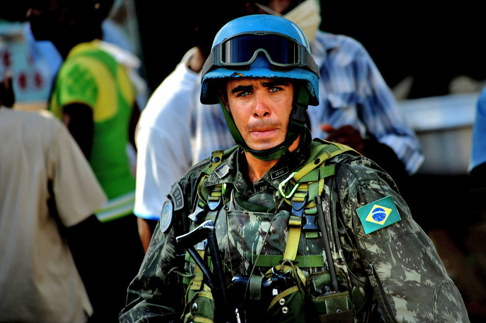 A U.N. soldier from Brazil is posted in Port-au-Prince, Haiti, Jan. 21, 2010, during Operation Unified Response