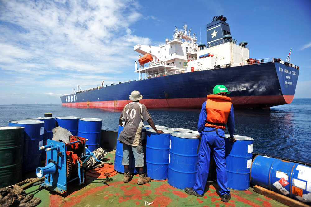 A crew member prepares to board the RBD Anema E Core, in the Lomé anchorage on October 12. The product tanker was hijacked by pirates in Benin on July 24, 2011. The threat of piracy has increased drastically in Togo and neighbouring Benin