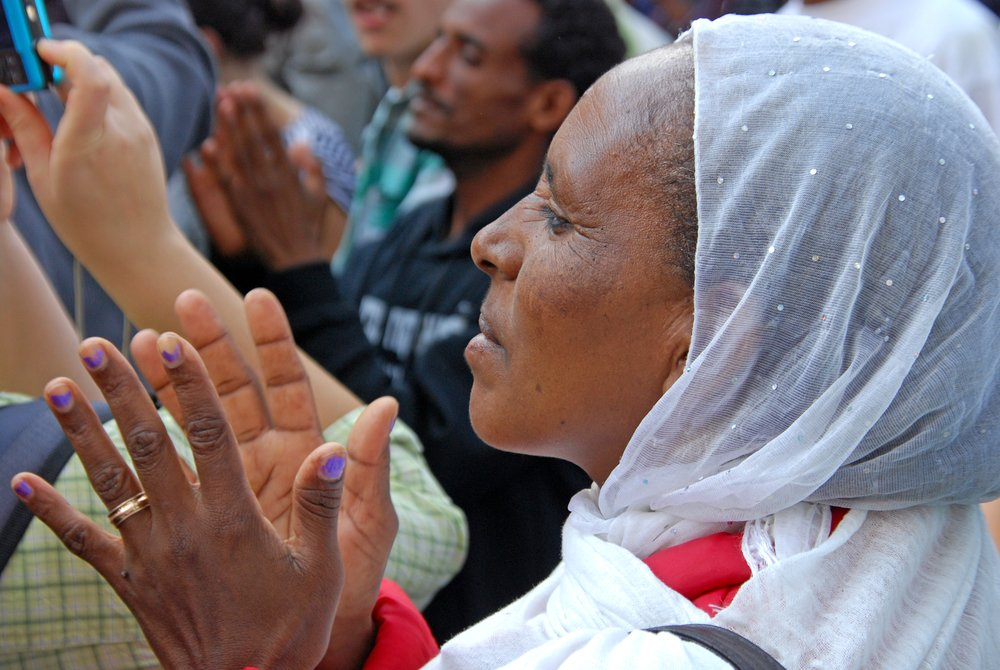 Women of Ethiopian origin at a human rights demo in Tel Aviv, January 2012