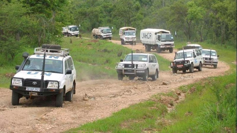 A UNHCR convoy carries refugees from South Sudan home from Uganda