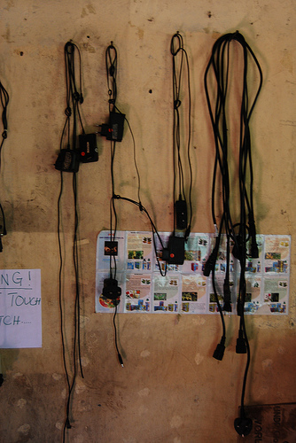 Lots of mobile chargers! as this is the only place that gets power within many hours walk, the community bring their phones here to get charged. Mobiles help them to communicate with people outwith the community and to feel part of the wider Kenya